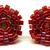 Beaded Circle Stud Earrings - Burgundy