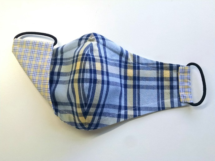 Face Mask - Reversible (Yellow & Blue Plaid with Checks)