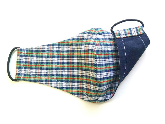 Face Mask - Reversible (Navy, Green, White, Red Plaid with Solid Navy)
