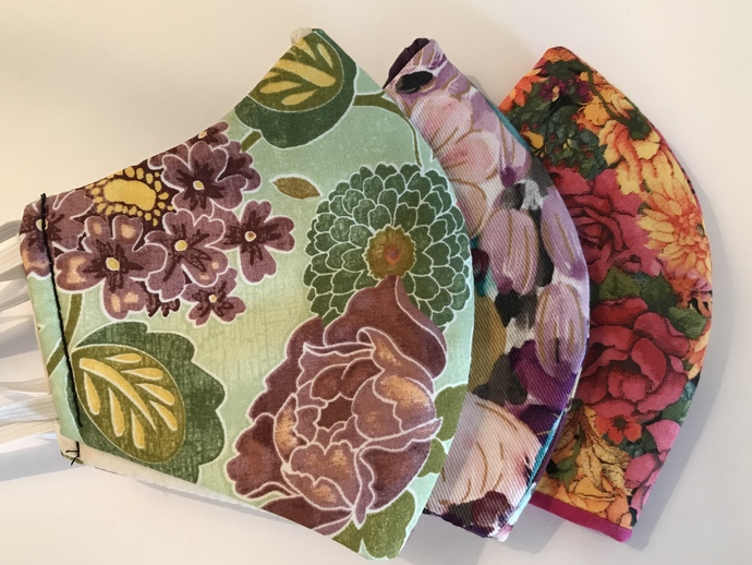 3-Pack, FACE MASKS, Floral Print, 100% Cotton, 3-Layers, Handmade, Machine