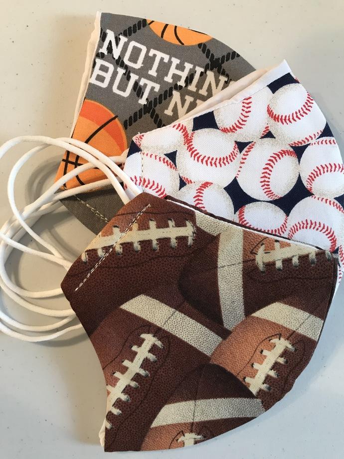 3-Pack, FACE MASKS, Sport Print, 100% Cotton, 3-Layers, Handmade, Machine