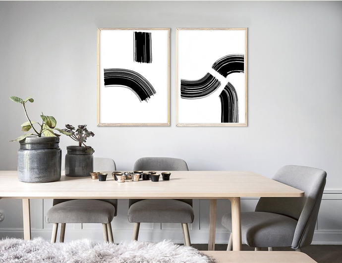 Set of 2 Prints, black white ink diptych, Modern Wall Art, Graphic Abstract