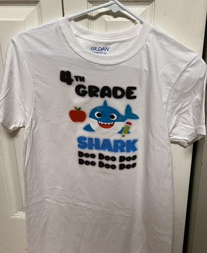 School shirts, baby shark shirt,back to school, end of year, handmade shirts