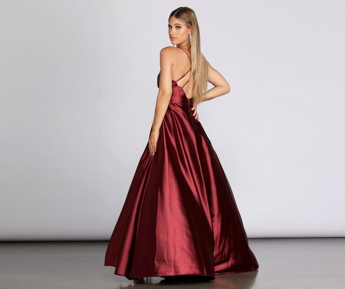 Satin Prom Dress,A-Line Prom Gown,V-Neck Evening Dress,Custom Prom Gown 0190