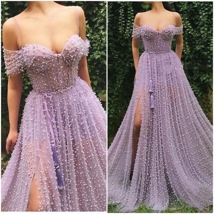 Beading Prom Dress,A-Line Prom Gown,Off the Shoulder Evening Dress,Custom Prom