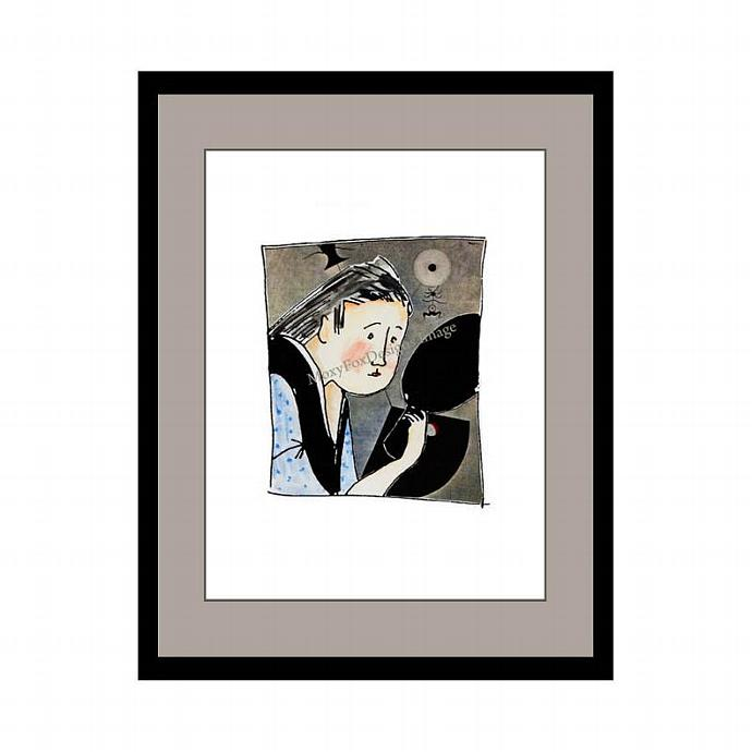Art -- Geisha Reflections -- Original Art Collage -- FREE US Shipping