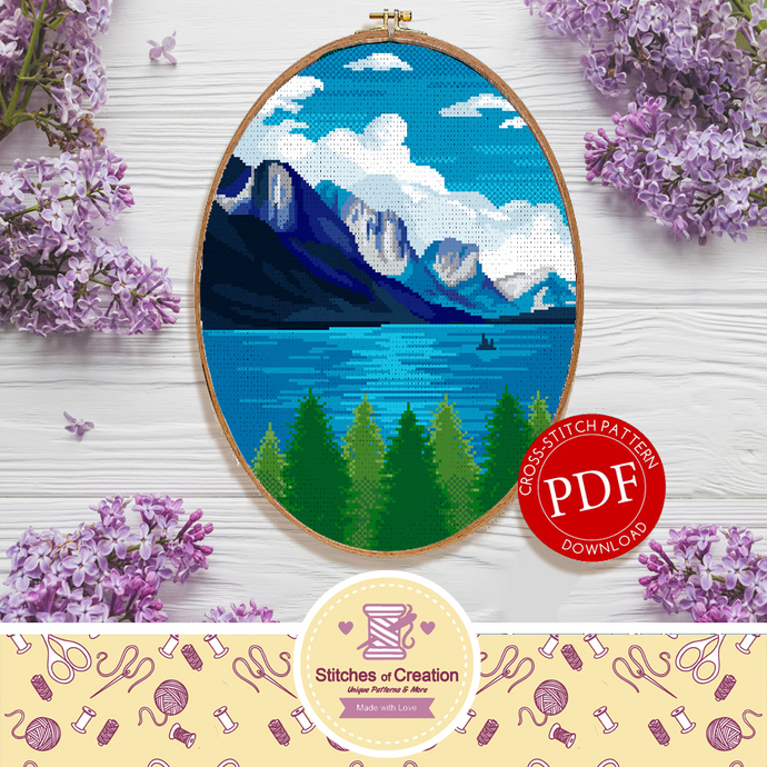 Saint Mary Lake Glacier National Park | Digital Download | Cross Stitch Pattern