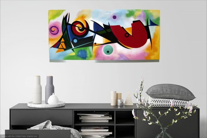Handmade, hand painted Abstract Wood wall hanging inspired by unknown artist