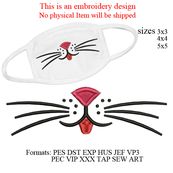 whiskers cat face Mask embroidery design Kitty Kitten Mouth,Adults Kids,Funny