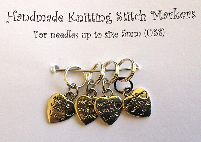 Knitting Stitch Markers - Made With Love - Set of 4