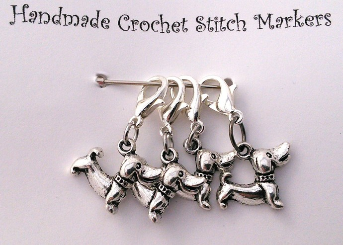 Crochet Stitch Markers - Dogs - Set of 4