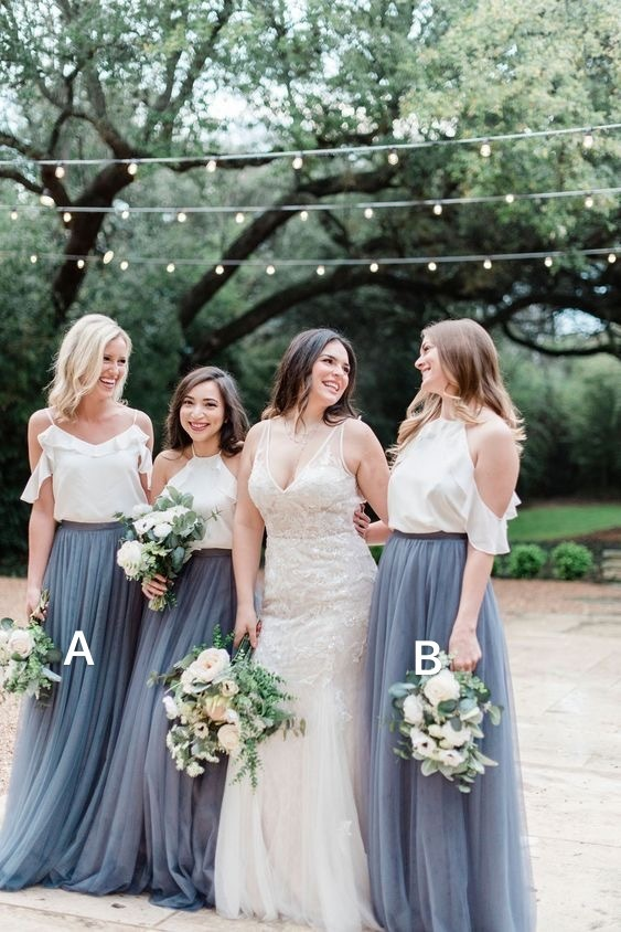mismatched bridesmaid dresses long gray tulle cheap simple elegant wedding guest