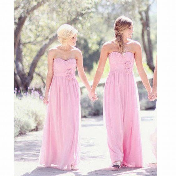 pink bridesmaid dresses chiffon cheap long sweetheart neck elegant wedding party