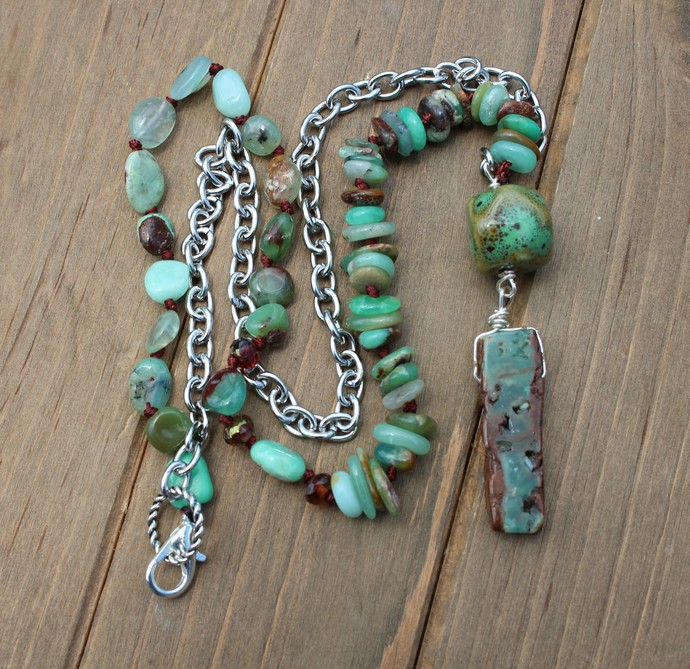 Long Beaded Necklace with Pendant The Wisdom Necklace Chrysoprase Jewellery by