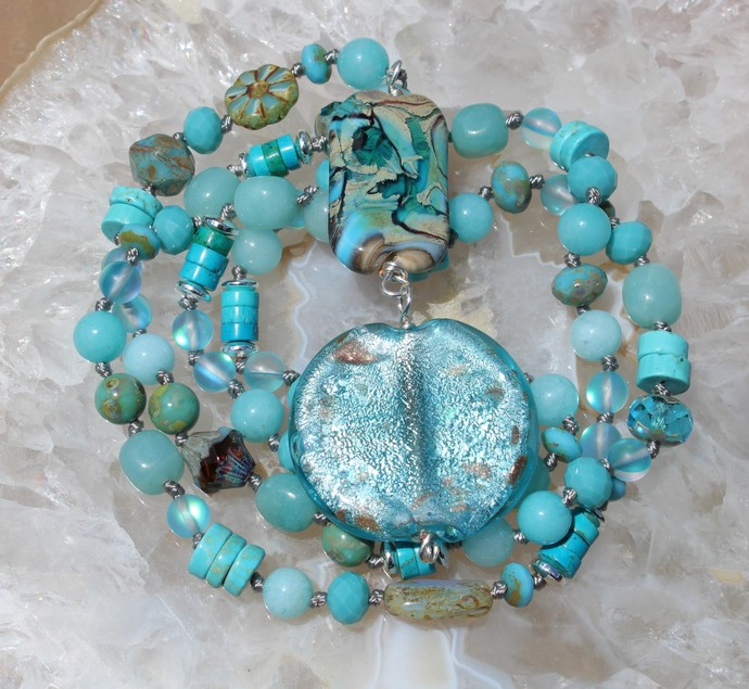 Bit Glitz Bit Opague New Lampwork Long Beaded Necklace with Pendant in blue by