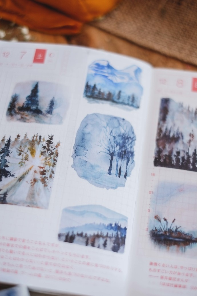 London Gifties watercolour tape - Forest Landscapes - 4 cm wide Japanese washi