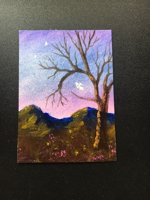 Magical Landscape with fairy original hand-painted ACEO by Dawn Blair