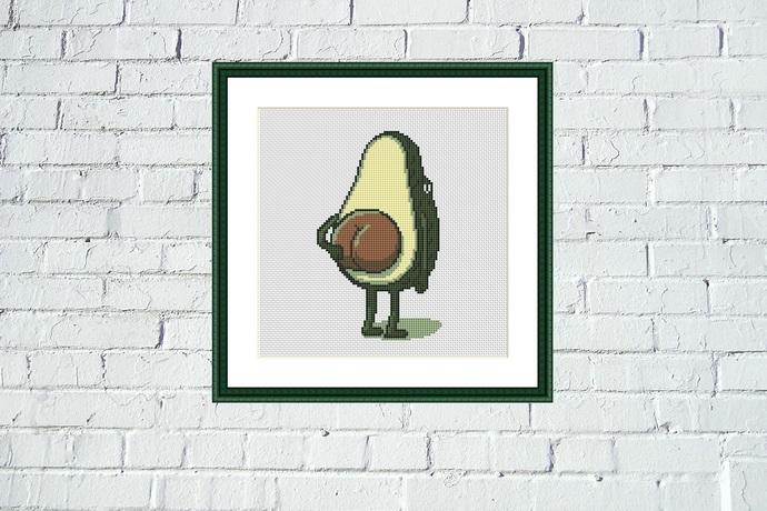 Avocado cross stitch pattern Colorful cartoon funny kitchen embroidery