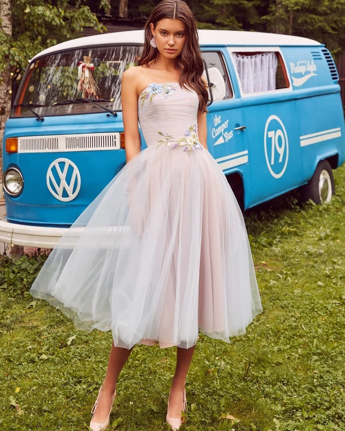 Custom Prom Dress,Tulle Prom Gown,Appliques Evening Dress,Strapless Prom Gown