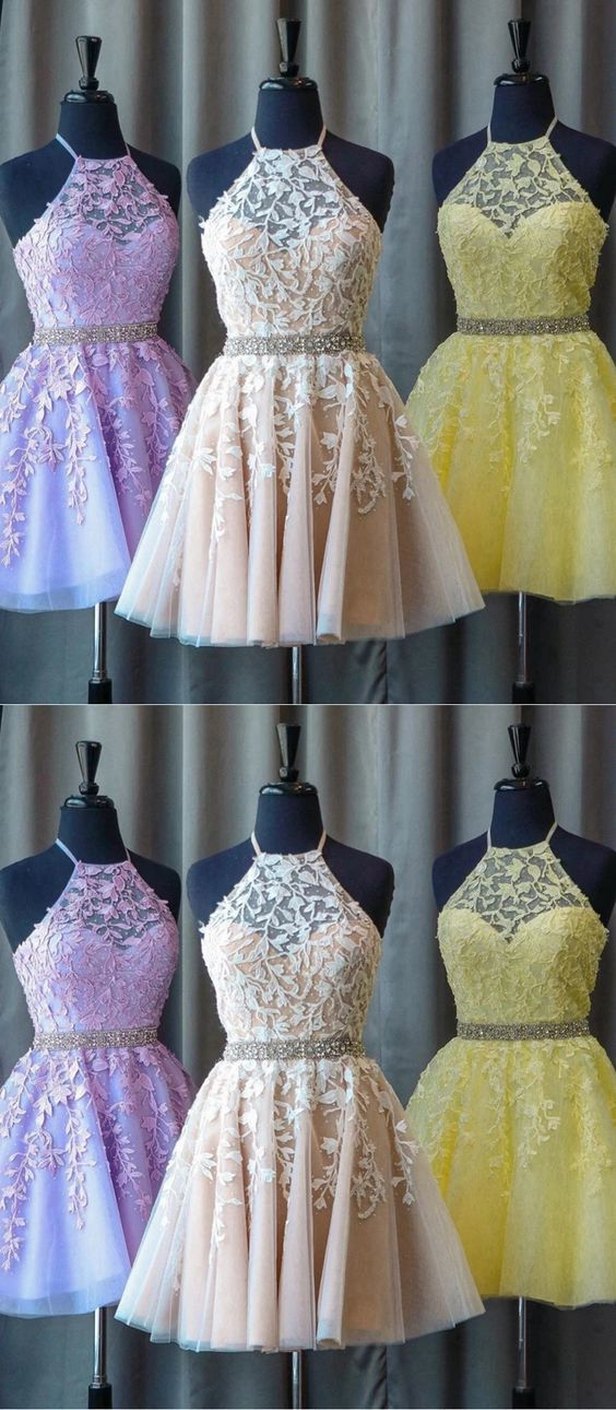 Lace Homecoming Dress Halter Neckline, Short Prom Dress, Evening Dress