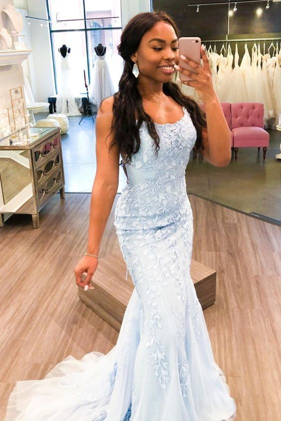 mermaid light sky blue lace long formal dress with train