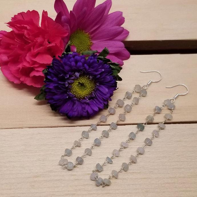 Aquamarine Chain Dangle Earrings