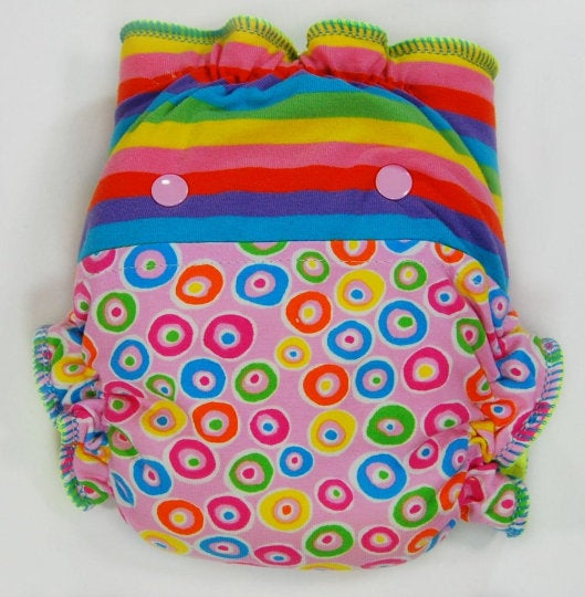 Colorful Combo Stripes and Circles - Cloth Diaper or Cover - You Pick Size and