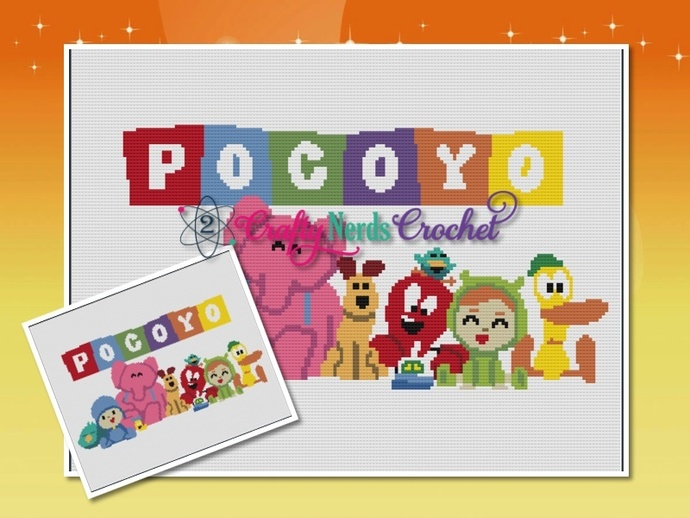 Pocoyo Pattern Graph With Single Crochet Written