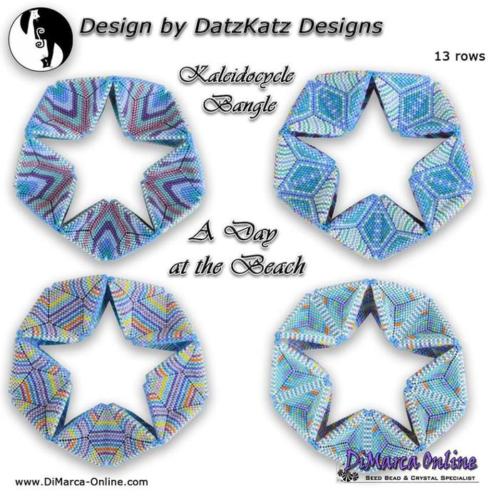 A Day at the Beach Kaleidocycle Bangle Design by DatzKatz Designs pattern by