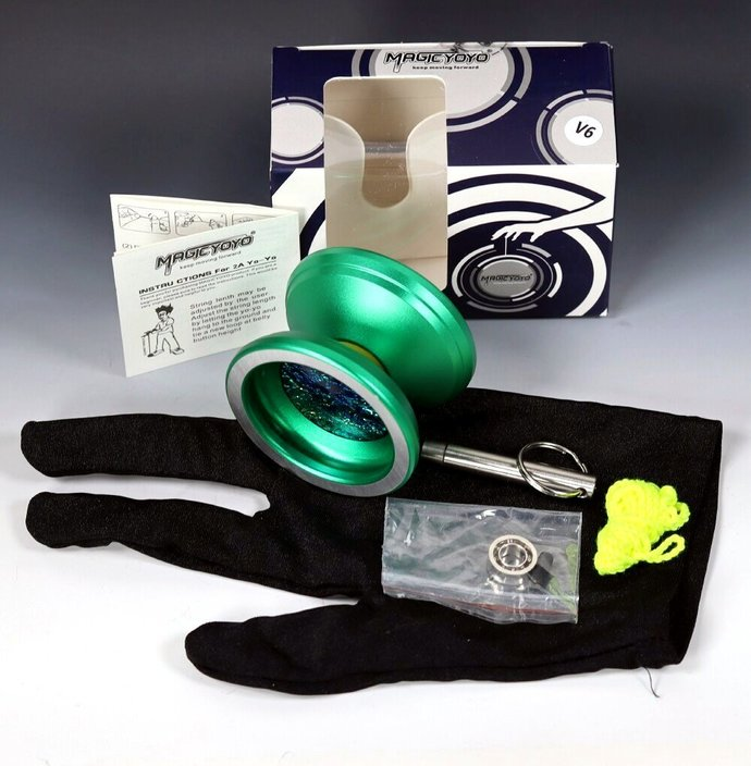 Green Aluminum Bearing Axle Yo-Yo with Mods by YoYoSpin