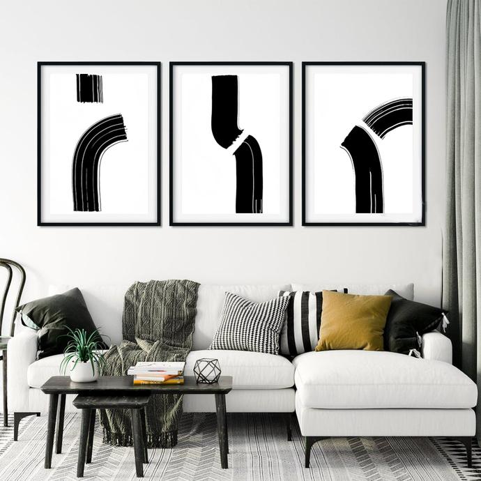 Printable Art, Art Poster, Digital Download, set of 3 Wall Decor, black and