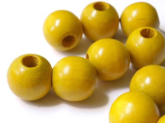 10 16mm Round Yellow Vintage Wood Beads Wooden Beads Large Hole Macrame Beads