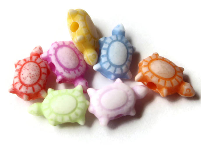 100 Assorted Colors Teeny Tiny Turtles Plastic Beads 10mm x 7mm Loose Beads