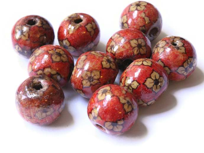 10 20mm Flower Pattern Beads Brown Wood Beads Round Wooden Beads Jewelry Making