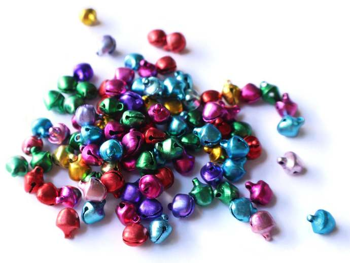 100 Small Jingle Bells Mixed Color bells Jewel Tone Bell Charms Aluminum Bells