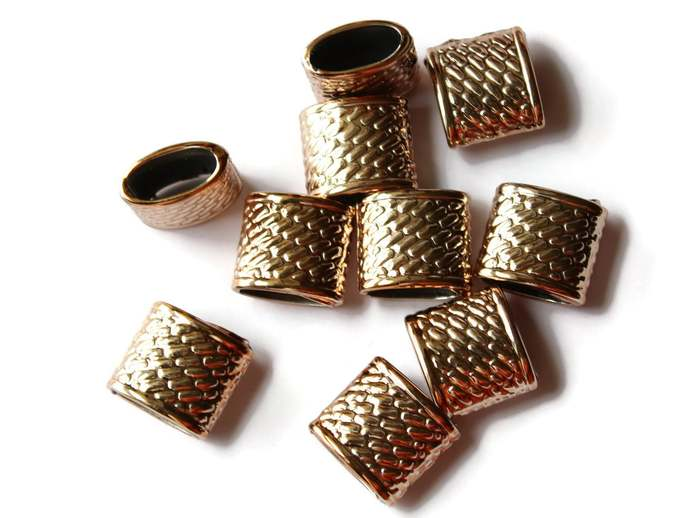 10 22mm x 20mm Oval Tube Beads Basket Weave Gold Tone Acrylic Beads Jewelry