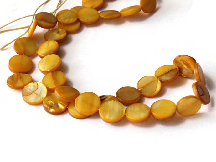 10mm Yellow Mother of Pearl Disc Beads Jewelry Making Beading Supplies Seashell