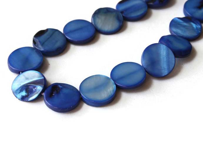 10mm Blue Mother of Pearl Disc Beads Jewelry Making Beading Supplies Seashell