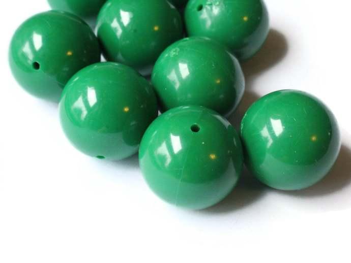 10 20mm Smooth Round Dark Green Beads Vintage Plastic Beads Jewelry Making