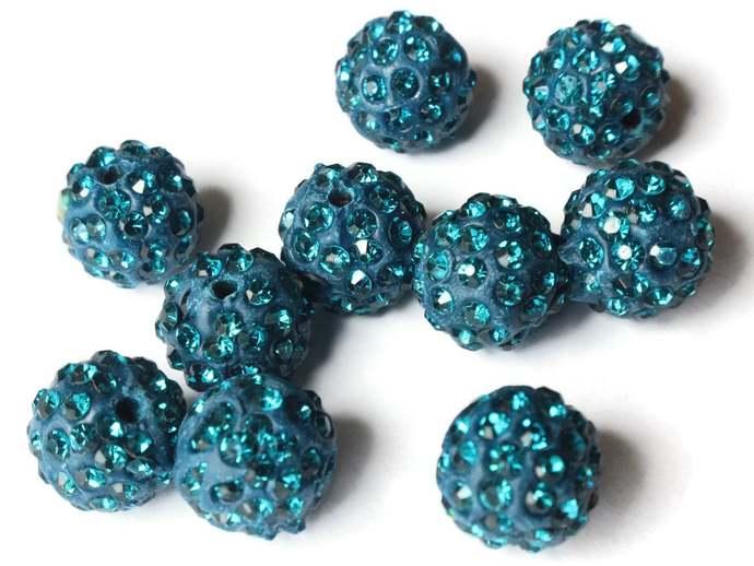 12mm Peacock Blue Rhinestone Beads Round Polymer Clay Sparkle Beads Shamballa