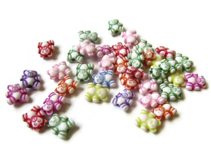 100 Mixed Color Rainbow Bear Beads Teddy Bear Beads Plastic Beads Animal Beads