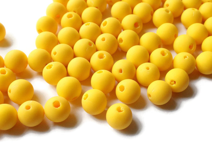 100 8mm Beads Round Yellow Beads Yellow Lucite Beads Beading Supplies Vintage