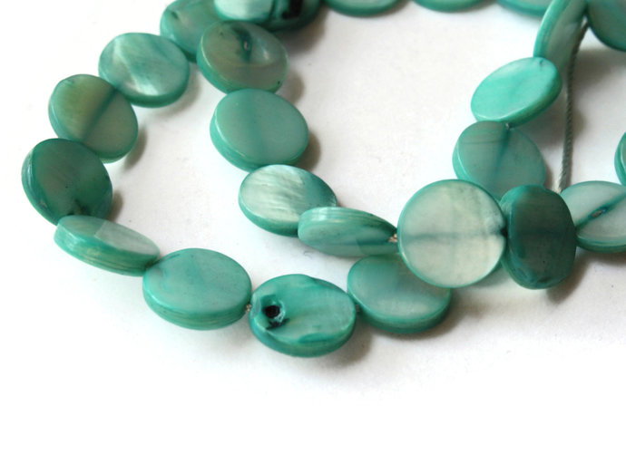 10mm Light Green Mother of Pearl Disc Beads Jewelry Making Beading Supplies