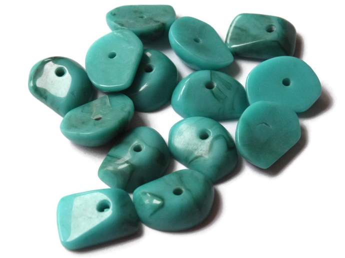 14 12mm x 9mm Turquoise Blue Chip Vintage Lucite Beads