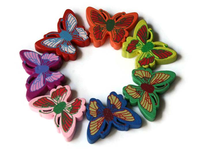 12 26mm Mixed Color Beads Wooden Butterfly Beads Animal Beads Wood Beads Moth