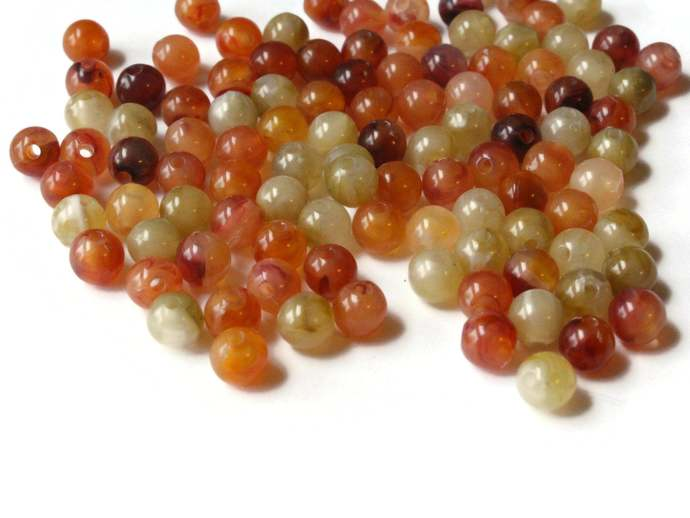 100 5mm Round Autumn Leaf Beads Vintage Lucite Beads Beading Supplies  Mixed