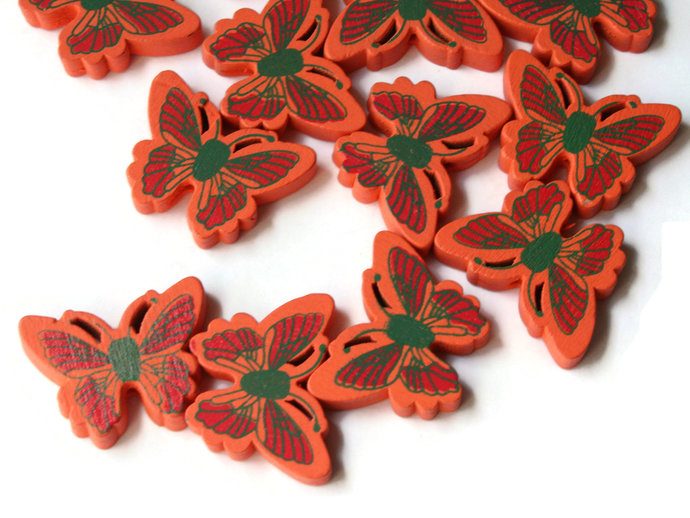 12 26mm Orange Wooden Butterfly Beads Animal Beads Wood Beads Moth Beads Cute
