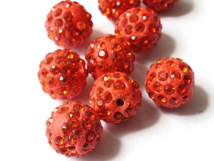 12mm Scarlet Red Rhinestone Beads Round Polymer Clay Sparkle Beads Shamballa