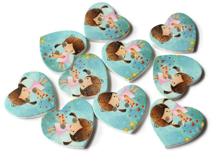10 25mm Blue Heart Buttons 2 Hole Wooden Buttons with Girl Sewing Supplies