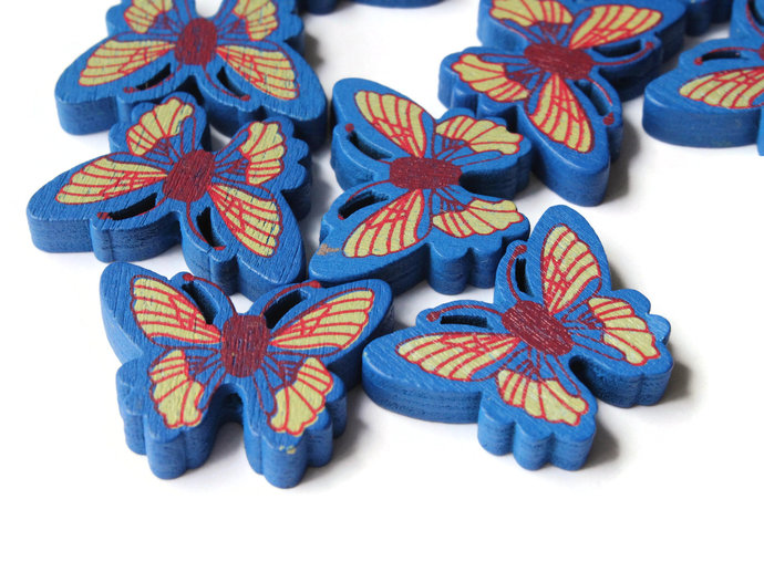 12 26mm Blue Wooden Butterfly Beads Animal Beads Wood Beads Moth Beads Cute